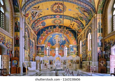 TREBINJE, BOSNIA AND HERZEGOVINA - JULY 08, 2018: interior of Holy Transfiguration Orthodox Cathedral in Trebinje, Bosnia and Herzegovina