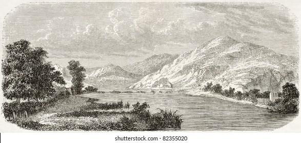 Trebisnjica river old view, Bosnia-Herzegovina. Created by De Bar after Lejean, published on Le Tour du Monde, Paris, 1860