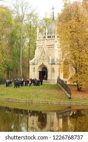 Trebisov/Slovakia - November 2, 2018 : The Mausoleum of Julius Andrassy and his family in the city park in Trebisov, Slovakia