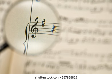the treble clef on a music score