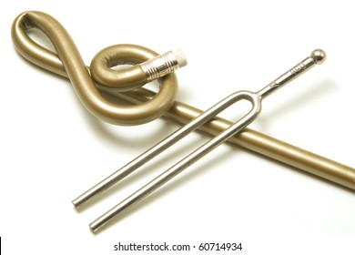 Treble clef and tuning fork