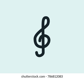 Treble sign icon line isolated on clean background. Clef concept drawing icon line in modern style.  illustration for your web site mobile logo app UI design.