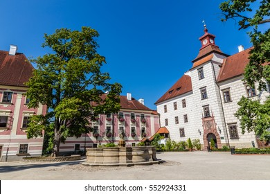 Trebon Castle And Fountain - Trebon, Czech Republic, Europe