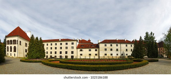 TREBON, CZECH REPUBLIC - APRIL 29, 2012: Panorama of Trebon chateau, southeast of the town centre. The chateau is an outstanding example of Renaissance architecture.