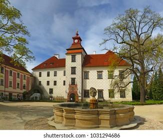 TREBON, CZECH REPUBLIC - APRIL 29, 2012: The Trebon chateau, southeast of the town centre. The chateau is an outstanding example of Renaissance architecture.