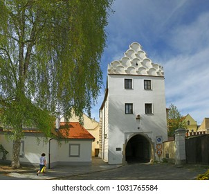 TREBON, CZECH REPUBLIC - APRIL 29, 2012: The Svinen Gate (Svinenska brana) originally called Dark of Trebon. Trebon is a old historical town in South Bohemian Region