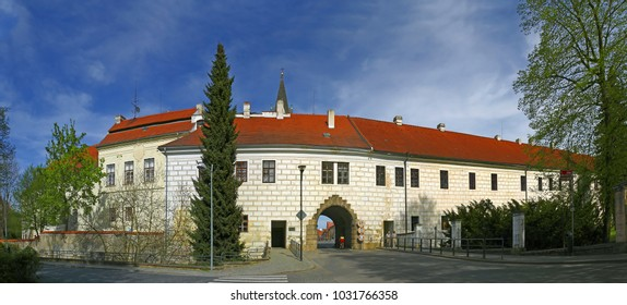 TREBON, CZECH REPUBLIC - APRIL 29, 2012: Budejovicka Gate (Budweiser Gate) of Trebon. Trebon is a old historical town in South Bohemian Region