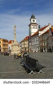 TREBON, CZECH REPUBLIC - APRIL 29, 2012: Downtown in Trebon. Trebon is a old historical town in South Bohemian Region