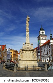 TREBON, CZECH REPUBLIC - APRIL 29, 2012: Main square in Trebon. Trebon is a old historical town in South Bohemian Region