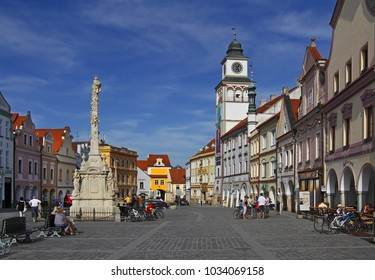 TREBON, CZECH REPUBLIC - APRIL 29, 2012: Main square in Trebon. Trebon is a old historical town in South Bohemian Region