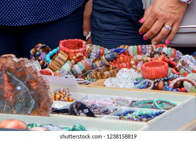 TREBON, CZECH REPUBLIC - August 11, 2018: Jewelry sold in a market in town of Trebon
