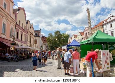 TREBON, CZECH REPUBLIC - August 11, 2018: Market full of people in town of Trebon