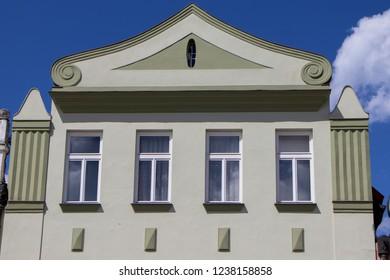 TREBON, CZECH REPUBLIC - August 11, 2018: Colorful renaissance houses in the historic town of Trebon
