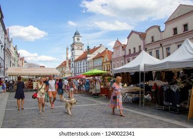 TREBON, CZECH REPUBLIC - August 11, 2018: Market stalls in town of Trebon
