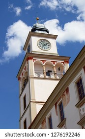 TREBON, CZECH REPUBLIC - August 11, 2018: Town hall tower in Trebon, Czech Republic