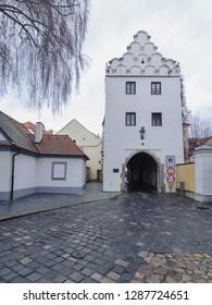 TREBON, CZECH REPUBLIC, Historical town gate in Trebon. Trebon is a old historical town in South Bohemian Region