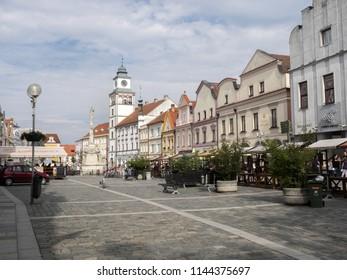 TREBON, CZECH REPUBLIC JULY 22 2018: historical square, July 22 2018 Trebon, Czech Republic