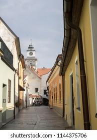 TREBON, CZECH REPUBLIC JULY 22 2018: street historical town, July 22 2018 Třeboň, Czech Republic