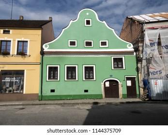TREBON, CZECH REPUBLIC JULY 22 2018: colorful Renaissance houses in the historic town, July 22 2018 Trebon, Czech Republic