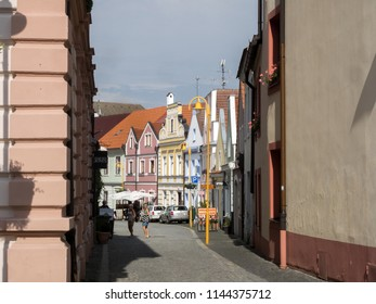 TREBON, CZECH REPUBLIC JULY 22 2018: street historical town, July 22 2018 Tøeboò, Czech Republic