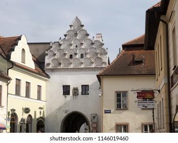TREBON, CZECH REPUBLIC JULY 22 2018: beautifully decorated house shield, July 22 2018 Trebon, Czech Republic