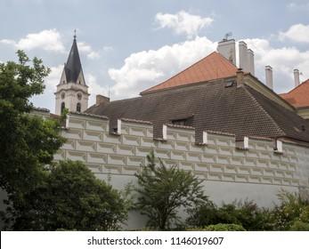 TREBON, CZECH REPUBLIC JULY 22 2018: city walls with graffiti, July 22 2018 Trebon, Czech Republic