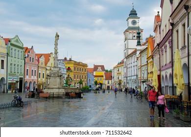 TREBON, CZECH REPUBLIC - JUNE 11, 2017:. Town square in Trebon in South Bohemia.
