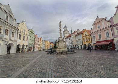 TREBON, CZECH REPUBLIC, Main square in Trebon. Trebon is a old historical town in South Bohemian Region