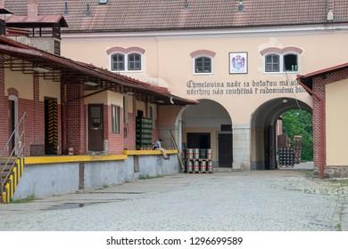 Trebon, South Bohemian, CZ - JUN 9, 2008 - Inner court of a beer factory at the city of Trebon