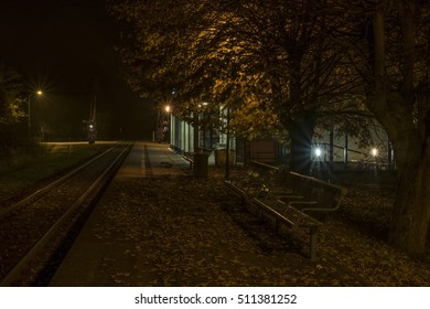 Trebon station in autumn dark night