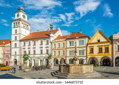 TREBON,CZECH REPUBLIC - JUNE 20,2019 - Theater building at the Masaryk Sqaure of Trebon. Trebon is a historical town in the South Bohemian Region of the Czech Republic.