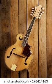 treditional bluegrass mandolin wooden slats background