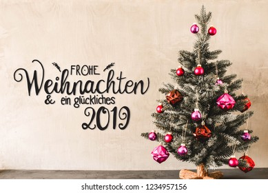 Tree With Balls, Calligraphy Glueckliches 2019 Means Happy 2019