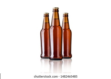 Tree beer bottle with white background