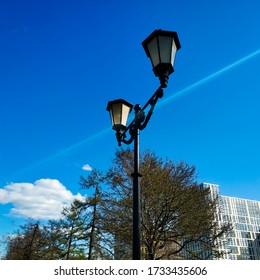 Tree branches with young leaves, street lamp and building in front of a blue sky with white clouds. Background with place for text.