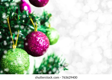 Tree and Christmas decorations. Beautiful decorated with present boxes in a winter landscape with snow. Can be used for background or wallpaper.