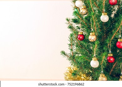 tree christmas with golden balls decoration with copy space.
