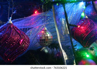 tree and christmas lights in different visions and blurs
