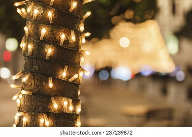 A tree with christmas lights ornaments / Christmas atmosphere background