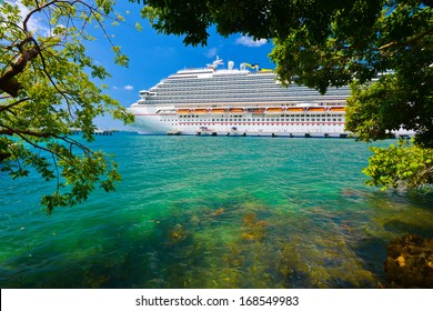 Tree and cruise ship with sun shinning in background.