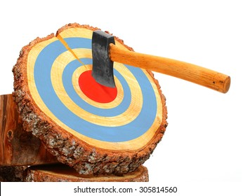 Tree cut and axe in the target isolated on white background. Firewood as a renewable resource of a energy. Success concept.
