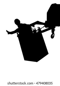 A tree cutter is secured in the lorry crane bucket. He uses his hand signal to beckon the operator to move the lifting arm to the left side of crane.