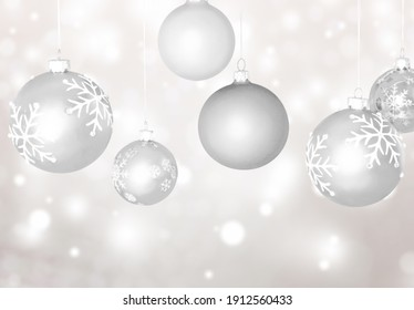 Ð¡hristmas tree decorations set, glass balls hanging on thread collection,