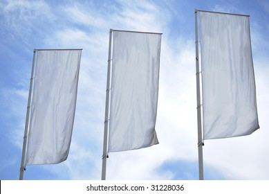 Tree empty vertical banners. Blank space for write at your own