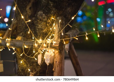 tree with fairy light string decoration