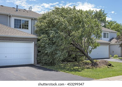 Tree falls on a home in a multifamily housing development after a strong storm
