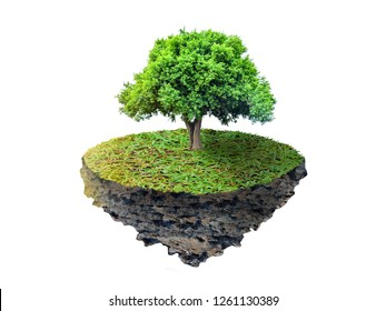The tree is floating on a floating island, on a white background.