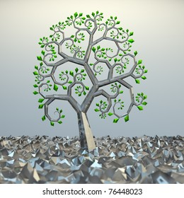 Tree from golden section elements. 3d hi res rendering.