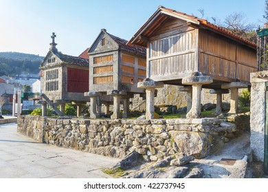 Tree horreos, traditional galician barns, in Combarro typical fishing village