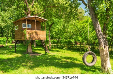 tree house in the evening garden